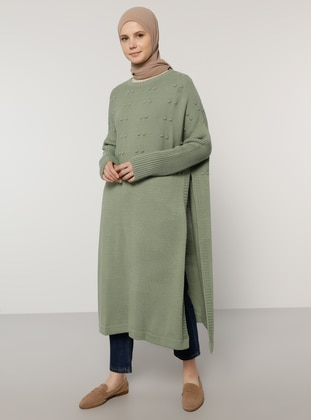 Green - Crew neck - Unlined - Acrylic -  - Poncho - Benin