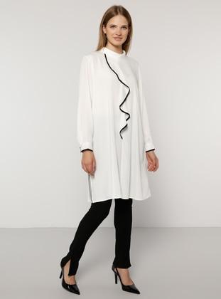 White - Black - Point Collar - Plus Size Tunic - Alia