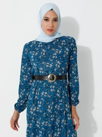 Indigo - Floral - Crew neck - Unlined - Viscose - Dress
