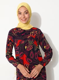Red - Navy Blue - Floral - Crew neck - Unlined - Dress