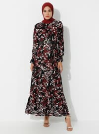 Plum - Floral - Crew neck - Unlined - Viscose - Dress