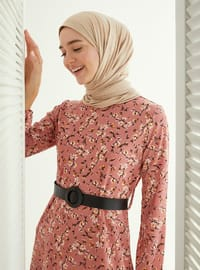 Powder - Floral - Crew neck - Unlined - Viscose - Dress