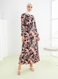 Powder - Floral - Crew neck - Unlined - Viscose - Dress