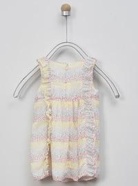 Multi - Crew neck - Coral - Yellow - Baby Dress