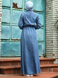 Blue - Unlined - Point Collar - Denim - Abaya