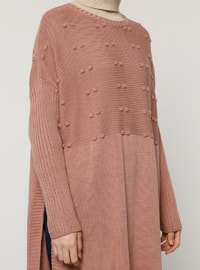 Pink - Crew neck - Unlined - Acrylic -  - Poncho