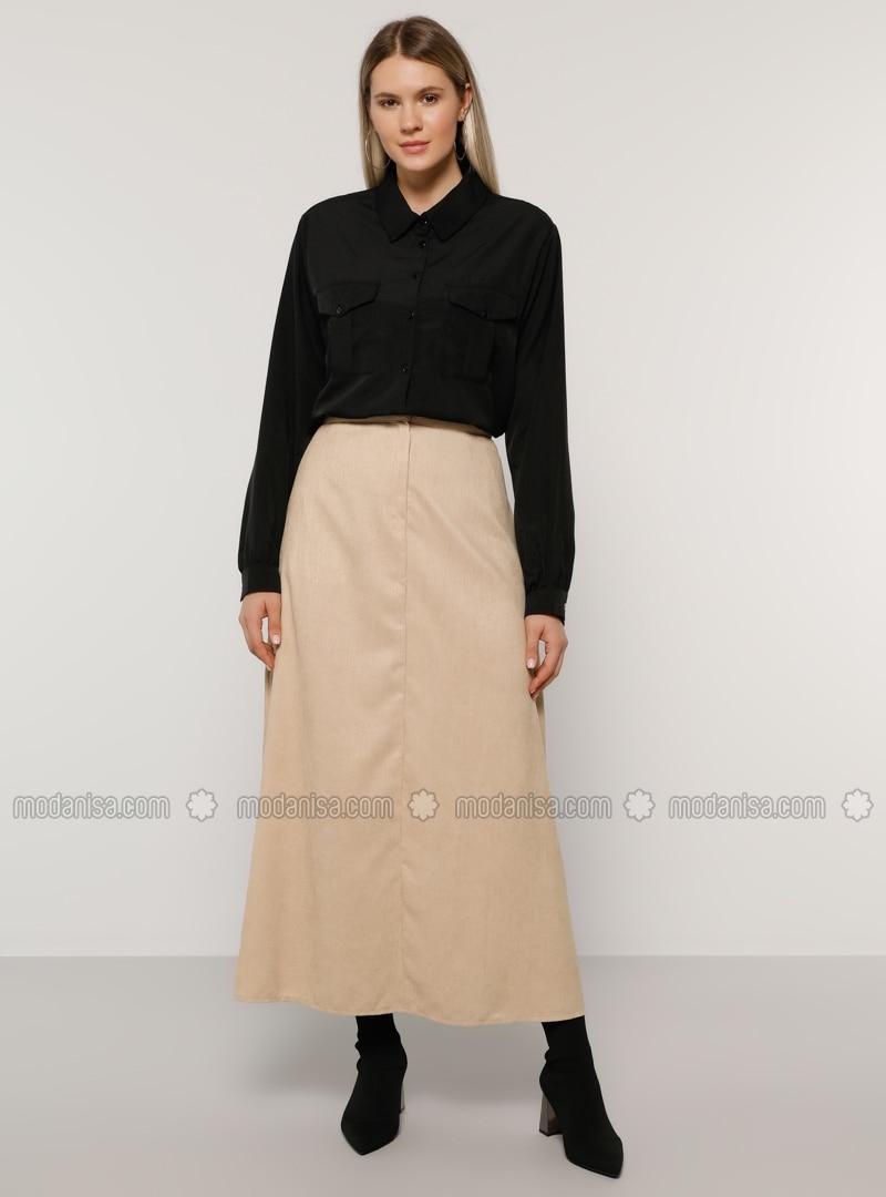 Beige - Unlined - Plus Size Skirt