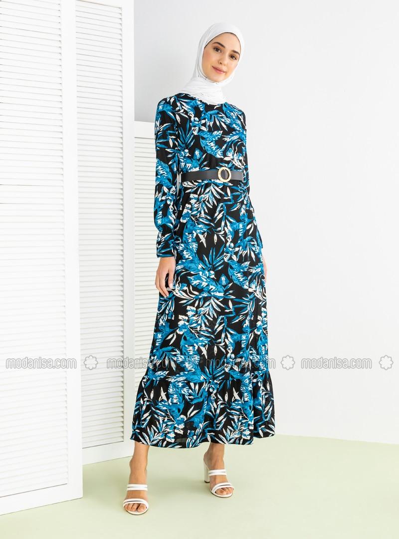 Indigo - Floral - Crew neck - Unlined - Viscose - Dress