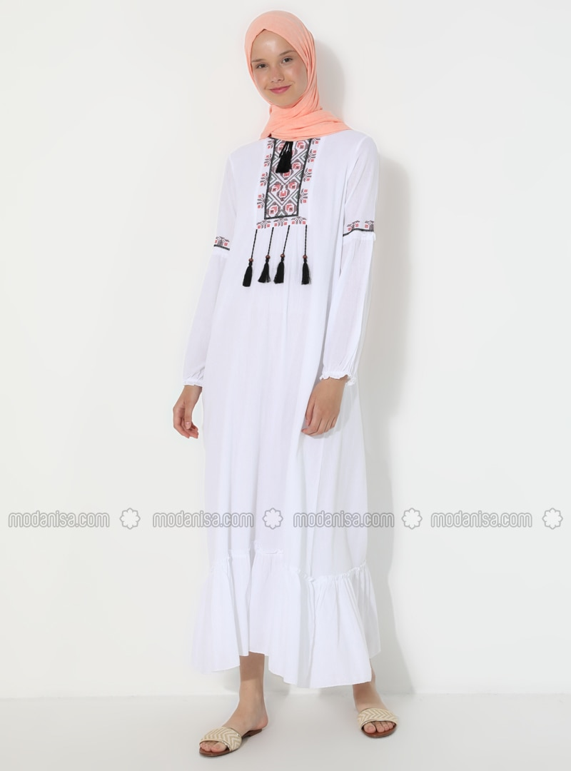 White - Ecru - Crew neck - Fully Lined - - Dress