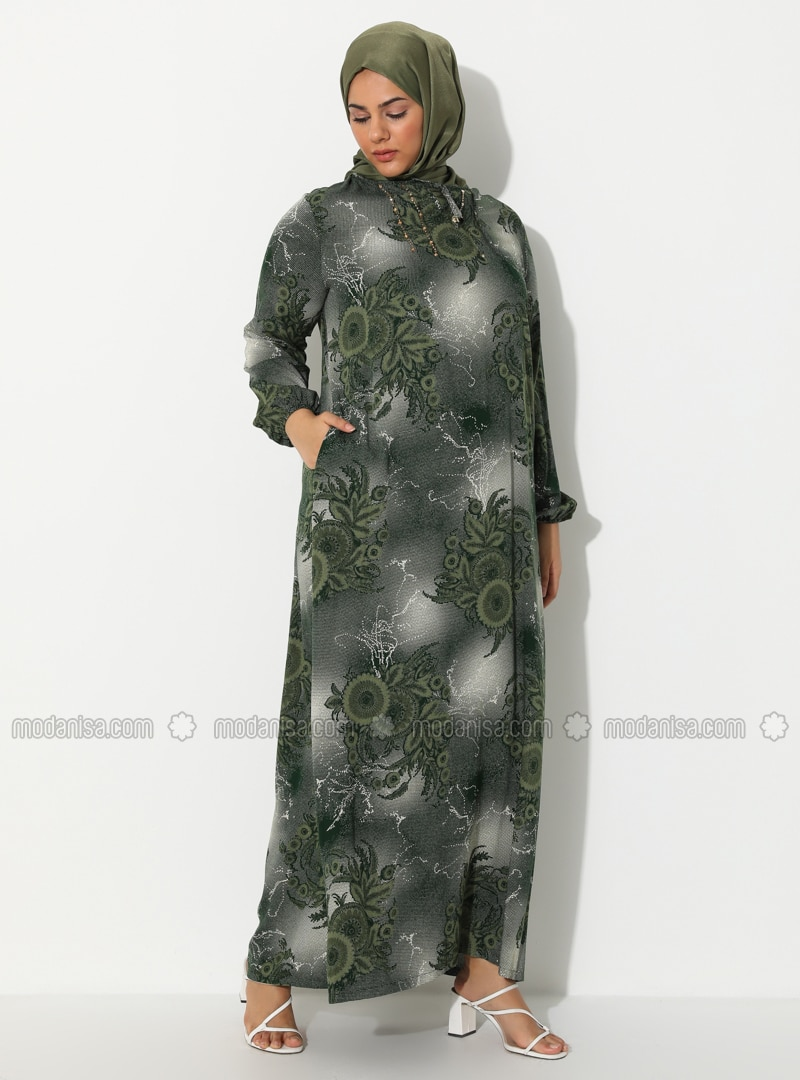 Khaki - Mink - Multi - Crew neck - Unlined - Dress