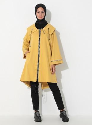 Yellow - Unlined - Shawl Collar - Trench Coat