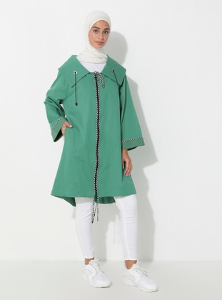 Green - Unlined - Shawl Collar - Trench Coat