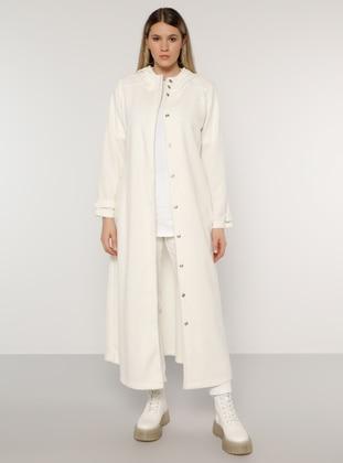 White - Ecru - Unlined - Plus Size Coat - Alia