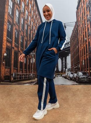 Oversize Natural Fabric Sports Tunic&Trousers Sports Set - IndigoEcru