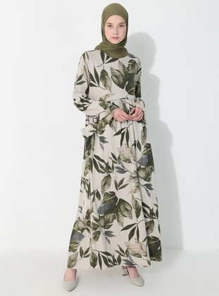 Khaki - Multi - Crew neck - Unlined -  - Dress