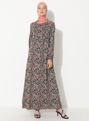 Red - Floral - Crew neck - Unlined -  - Dress