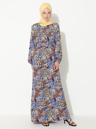 Blue - Yellow - Floral - Crew neck - Unlined -  - Dress