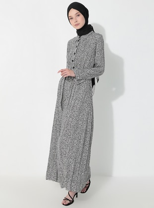 Black - Floral - Point Collar - Unlined -  - Dress