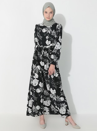 White - Black - Floral - Crew neck - Unlined -  - Dress