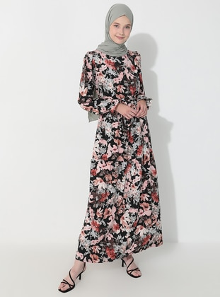 Powder - Black - Floral - Crew neck - Unlined -  - Dress