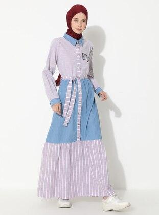 Maroon - Stripe - Gingham - Point Collar - Unlined -  - Dress