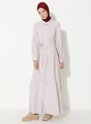 Mink - Stripe - Point Collar - Unlined -  - Dress