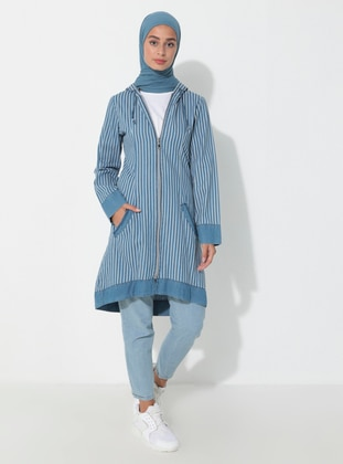 Blue - Stripe - Unlined -  - Topcoat