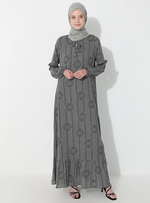 Black - Multi - Crew neck - Fully Lined -  - Dress