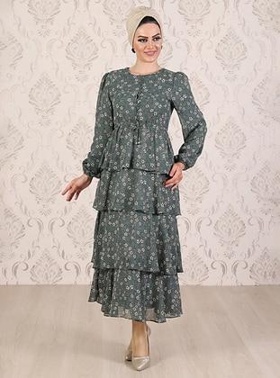 Mint - Floral - Unlined - Crew neck - Viscose - Muslim Evening Dress