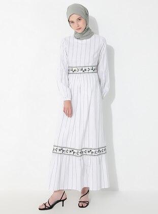 Ecru - Black - Stripe - Crew neck - Unlined -  - Dress