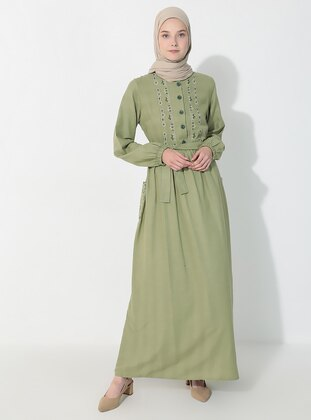 Green - Crew neck -  - Dress