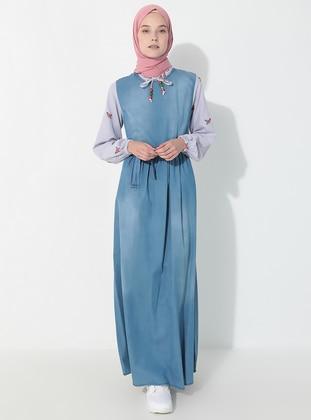 Blue - Gingham - Crew neck - Unlined - Denim -  - Dress