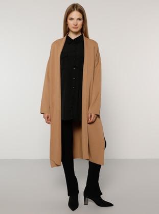 Camel - Acrylic -  - Plus Size Cardigan - Alia