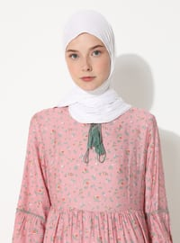 Pink - Stripe - Crew neck - Fully Lined -  - Dress