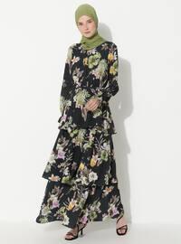 Yeşil - Çiçekli - Yuvarlak yakalı - Astarsız - - Elbise
