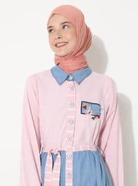 Salmon - Stripe - Gingham - Point Collar - Unlined -  - Dress