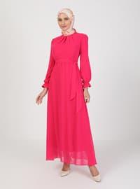 Fuchsia - Stripe - Crew neck - Point Collar - Fully Lined - Modest Dress