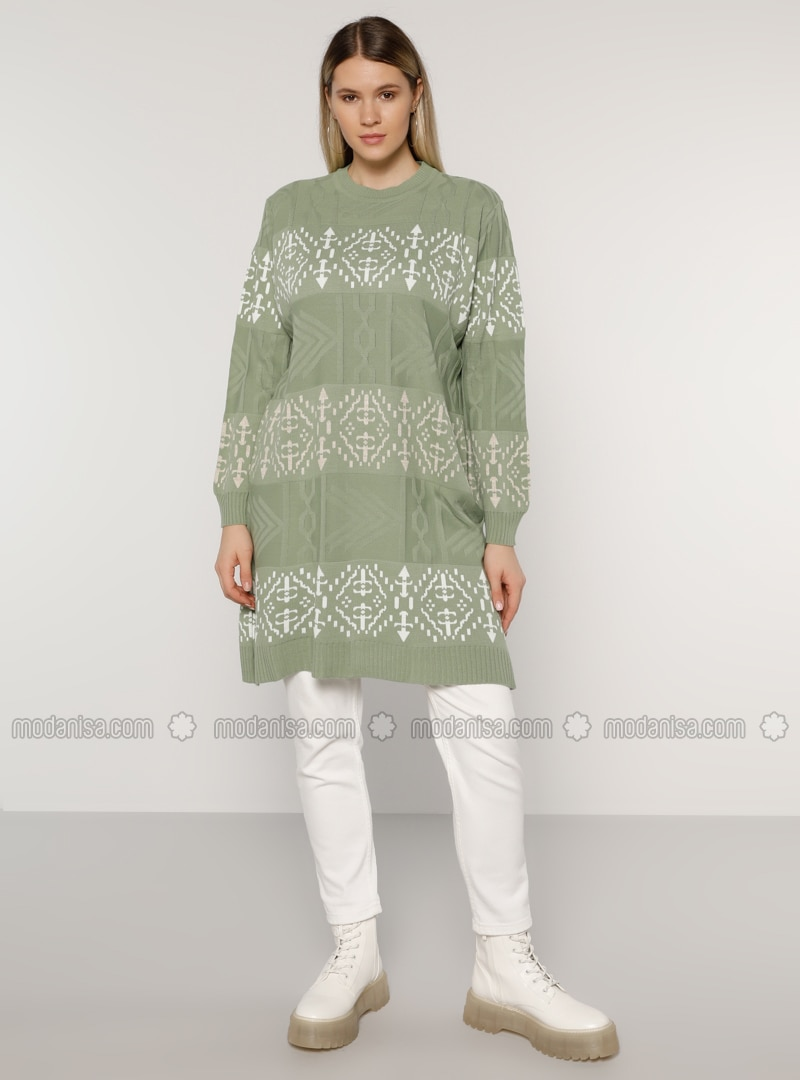 Ecru - Sea-green - Stone - Acrylic - - Multi - Crew neck - Plus Size Knit Tunics