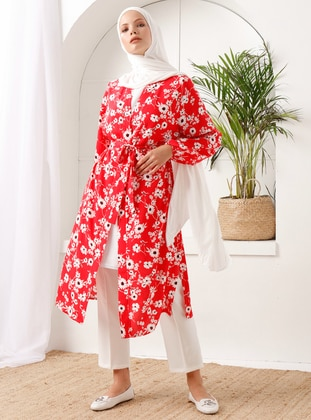 Red - Floral - Unlined - Shawl Collar -  - Topcoat