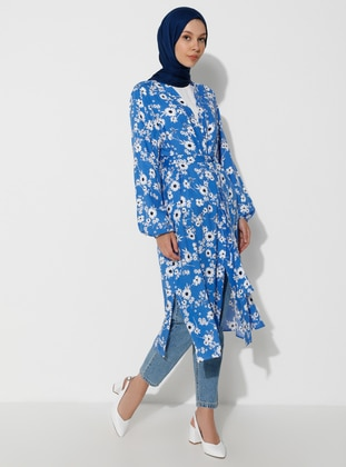 Blue - Floral - Unlined - Shawl Collar -  - Topcoat