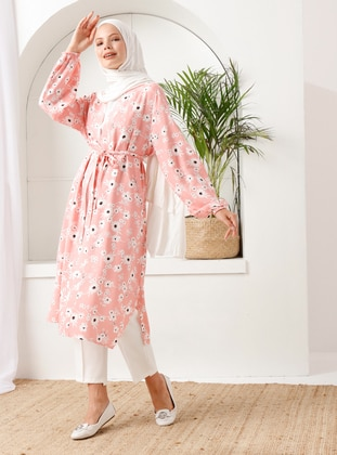 Pink - Floral - Unlined - Shawl Collar -  - Topcoat