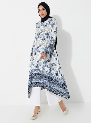 Blue - Floral - Crew neck - Viscose - Tunic
