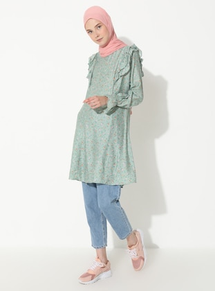 Green - Floral - Stripe - Crew neck - Denim -  - Tunic