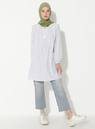 White - Ecru - Khaki - Stripe - Crew neck -  - Tunic