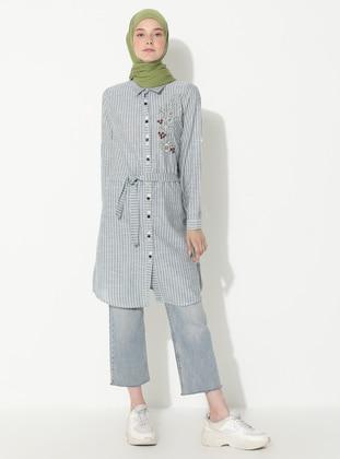 Khaki - Stripe - Point Collar -  - Tunic