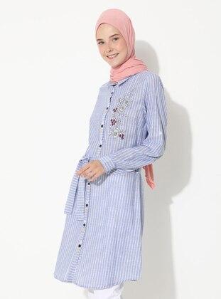 Blue - Stripe - Point Collar -  - Tunic