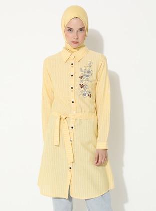Yellow - Stripe - Point Collar -  - Tunic