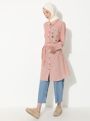Tan - Stripe - Point Collar -  - Tunic