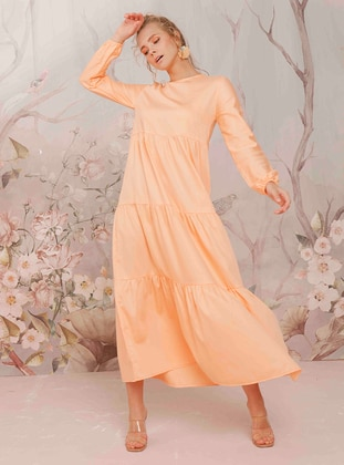 Orange - Crew neck - Unlined -  - Dress
