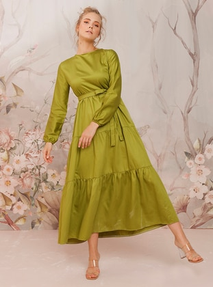 Green - Crew neck - Unlined -  - Dress